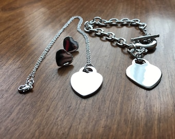 Sterling silver matching set of hearts