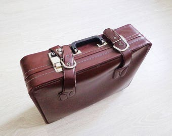 Soviet retro brown suitcase, vintage travel bag USSR