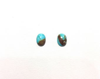 2 pcs. 8mm Oval Genuine Turquoise Cabochon