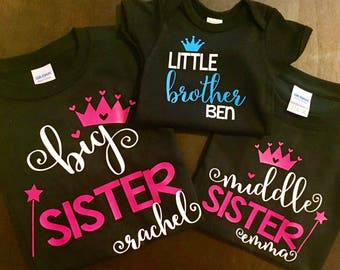 Matching big/middle/little Sister/Brother Shirt or Dress