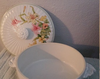 Jade Lily Fine Porcelain by Shafford Casserole Dish