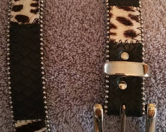 Fashion Belt. Leather and Hide with beaded edging. Size Small