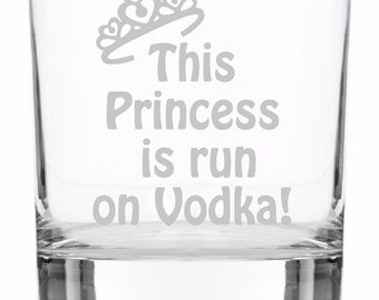 Etched Princess Run on Vodka Tumbler Glass