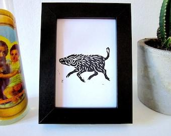 Japanese Boar Original Handmade Black & White MINI Lino Art Print 13 x 9 cm