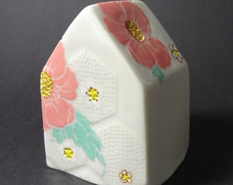 Pink Flower Tea Light Candle House
