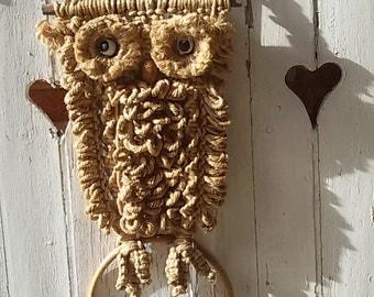 OWL macrame / OWL / macrame / Vintage owl hanging