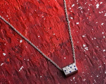 White Diamond Gold Necklace, Sapphires Gold Necklace, 14K White Gold Necklace Pendant, Diamonds Sapphire Pendant Necklace, Zehava Jewelry