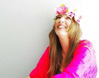 Pink flowers crown, great festival accessory and perfect gift too!