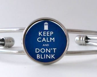 Keep Calm and Don't Blink Doctor Who Quote Weeping Angels Bracelet Cuff