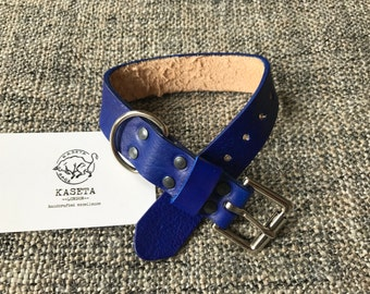 Leather dog collar 'LightBlue'