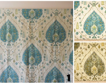 PAIR of window curtains window panels drapes window treatments floral curtains medalion curtains