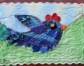 "Blue Bird Art Quilt, Whimsical Bird Fiber Art, Miniature Art Quilt, Unique Fiber Art, Home Decor, Shelf Art, Gift for Bird Lover, 7"" x 5"""