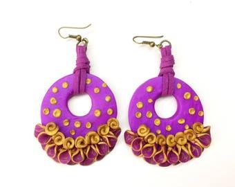 Flamenco earrings, hoop, flamenco earring, El Rocío, Spanish dance, Gypsy earrings, polymer clay, gift for her, personalized