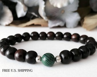 Yoga Zen Bracelet, Malachite Bracelet, Ebony Wood Bracelet, Mens Beaded Bracelet, Meditation Bracelet, Mala Beads, Buddhist Jewelry