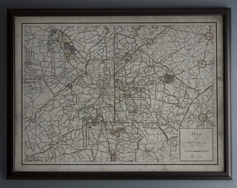 Atlanta Map : Vintage Map of Atlanta, Georgia - Circa 20th C. - Weathered Map