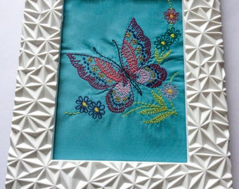 Framed embroidered butterfly with flowers