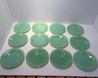 Set of 12 Fire King Jane Ray Jadeite saucers