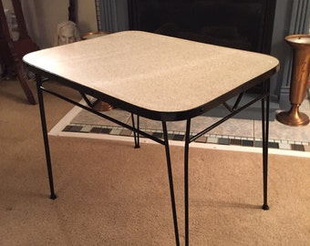 Mid Century Boomerange Pattern Formica Top Iron Hairpin Side Table