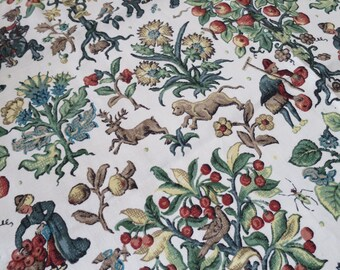 Historical Vintage Liberty of London Linen Upholstery Fabric- Tudor Crewel Embroidery Print