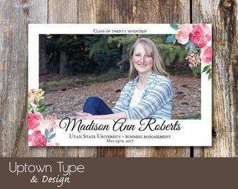 Floral Elegance_ Watercolor Graduation Announcement_ DIY Printable