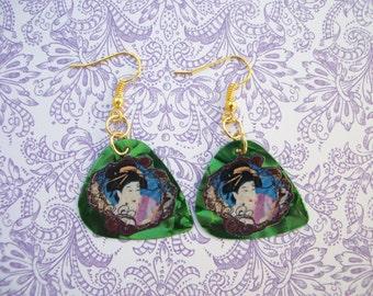 Japanese Geisha Earrings Green Guitar Pick gold plated tone findings