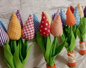 A Bouquet of  5 Handmade Tulips Beautiful Surprise  Gift Idea for Christmas, Birthday, Bridal shower, Baby shower