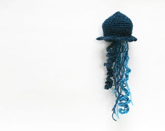 Blue Sparkly Jellyfish - Crochet / Knit - Nautical Home decor