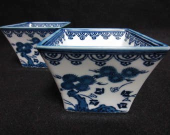Set of 2 Blue and White Japanese Porcelain Square Pots from the 1980s.