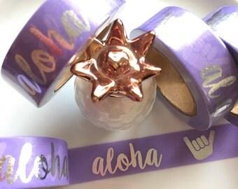SALE**Exclusive Silver Foil Aloha Washi Tape - Purple