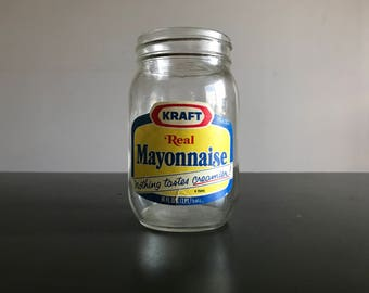 1980s Kraft Mayonnaise Glass Jar / Vintage Glass Food Container