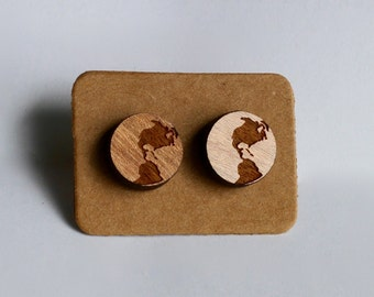 Wooden Laser Cut Globe Stud Earrings