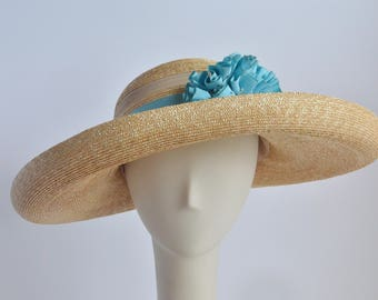 "758- Straw Sun Hat ""Opal"" - Wide Brim"