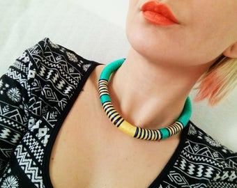Rope Choker/Green Choker/TGreen Necklace/Green rope/Crocheted Necklace/Boho