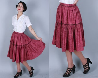 Vintage 1950s Skirt | Pink Rose Print Cotton Skirt with Black Ric Rac Trim | Extra Small / Small