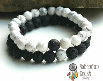 Aromatherapy Diffuser Couples Bracelets Gemstone Bracelets Lava Stone Howlite Bracelets Essential Oil Diffuser Bracelets Mala Bracelets