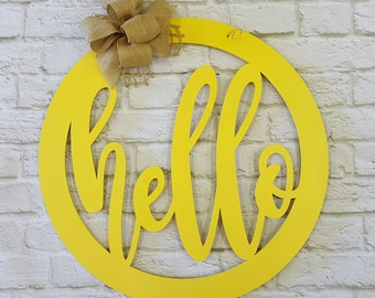 Hello - Wreath - Door Hanger - Wood Sign - Wall Hanging - (MG)