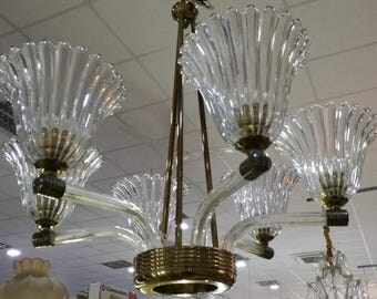 Barovier Toso 6 luci chandelier anni 40 Murano finiture in brass Made in Italy 1940s
