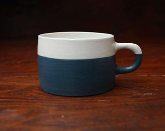 Hand Thrown Porcelain Mug - Sea Wolf Blue