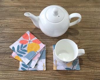 Coasters, Fabric Coasters, Tea Coasters, Coffee Coasters - Grey Floral