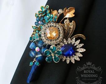 Wedding Boutonniere Buttonhole Boutonnieres Wedding Grooms Boutonniere Teal Boutonniere Navy Blue Boutonniere Gold Boutonniere Groomsman Pin