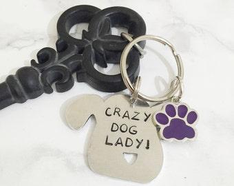 Crazy Dog Lady Key Ring - Dog aluminium key ring - funny dog ke yring - Dog Lovers key ring - Gifts for her