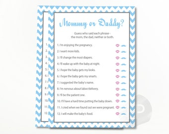 Mommy Or Daddy Baby Shower Quiz, He Said She Said Baby Shower, Who Said