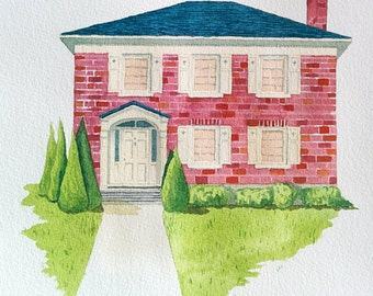 Custom Family Home/Cottage Portrait Watercolor Illustration