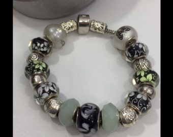 Stop and Smell The Flowers! Beautiful  Floral Theme Euro Bracelet Handcrafted