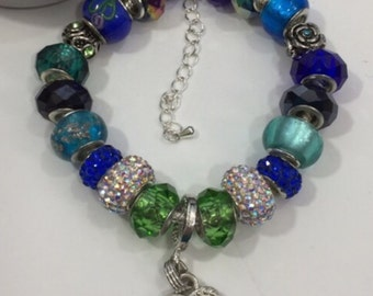 Euro Bracelet Blue and green glass beads and Heart Charm, gift!