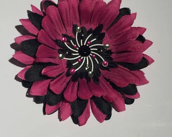 Black and Pink Flower Hair Clip