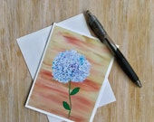 Pretty Hydrangea Flower Card - Floral Card- Blank Flower Note Card with Envelope Card Handmade - Original Artwork Card - Mini Art