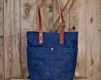 Market Tote - Navy, Waxed Canvas Bag, market bag, tote bag, purse, luggage, shoulder bag, handbag