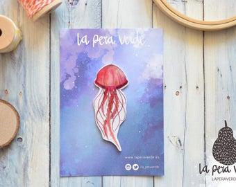 JELLYFISH - PIN, jellyfish pin, jellyfish brooch, jellyfish jewelry, shrink plastic jewelry, watercolor jellyfish, animal pin, animal brooch