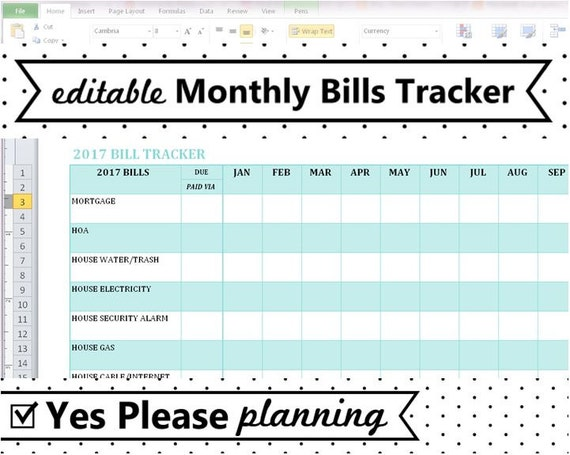 Excel Bill Tracker Template